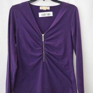 💜💜Michael Kors Purple Ruched Zip-Front Top